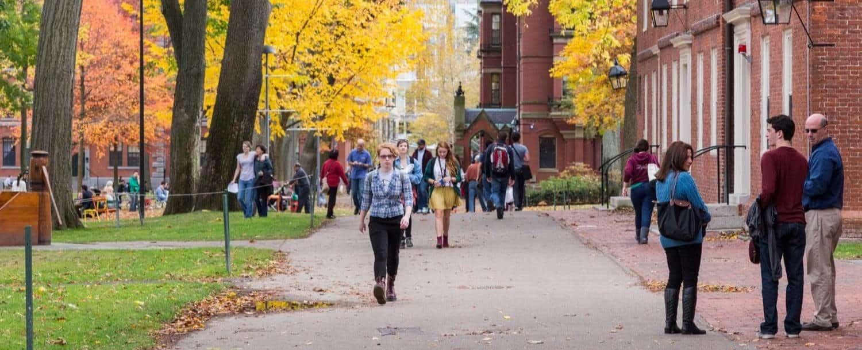 students walking around campus at davidson college
