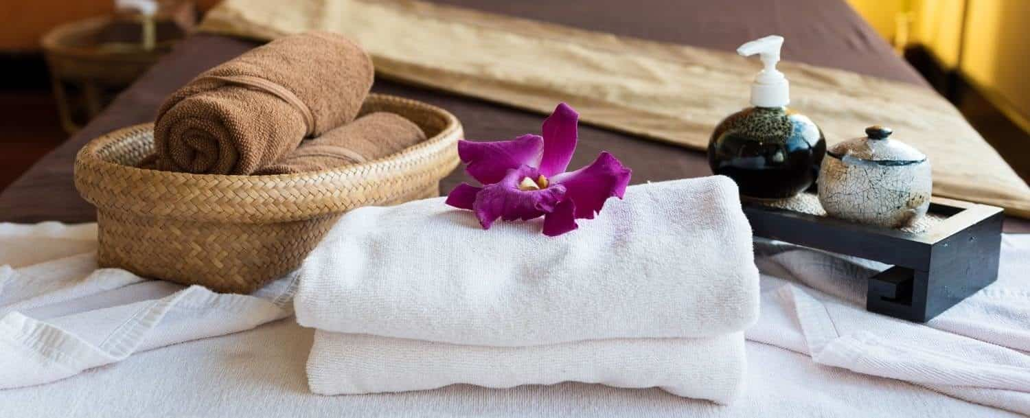 Spa complementary package,on top of the bed