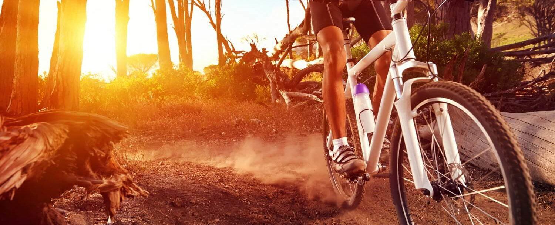 person mountain biking at sunrise