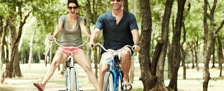 People enjoying a bike ride through Davidson, NC