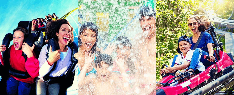 3 images of families having fun at an amusement park