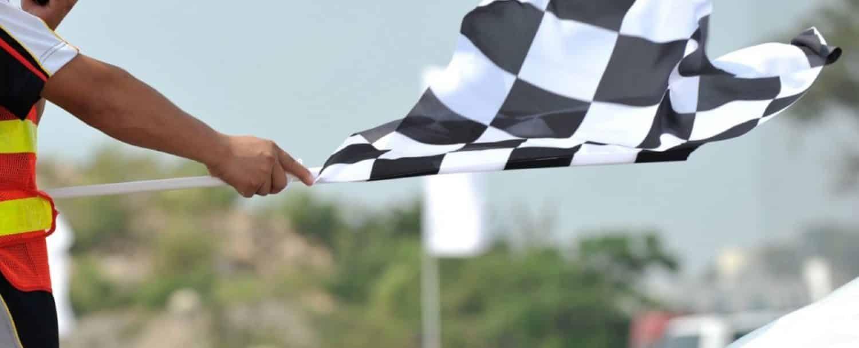 a checkered flag at a race