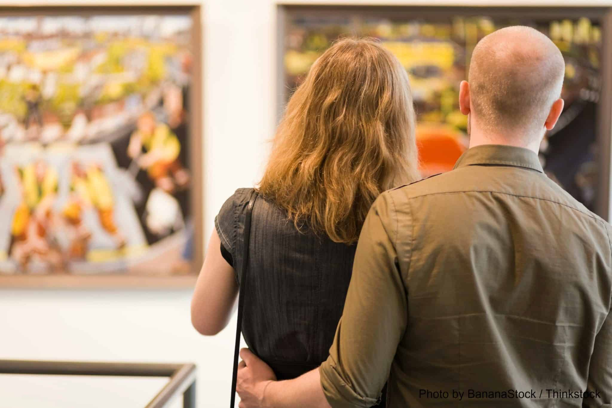 couple in an art gallery in Davidson NC