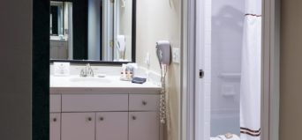 bathroom in twin room at Davidson Village Inn