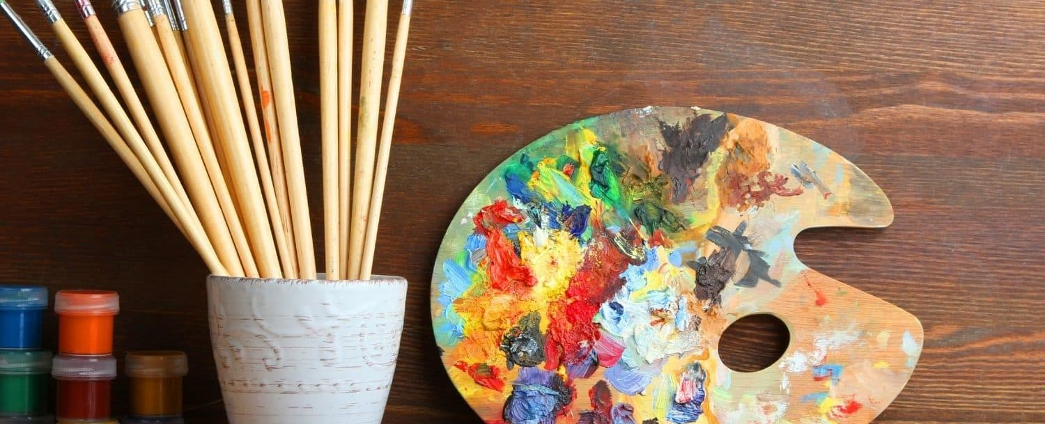 Art palette, paint and brushes