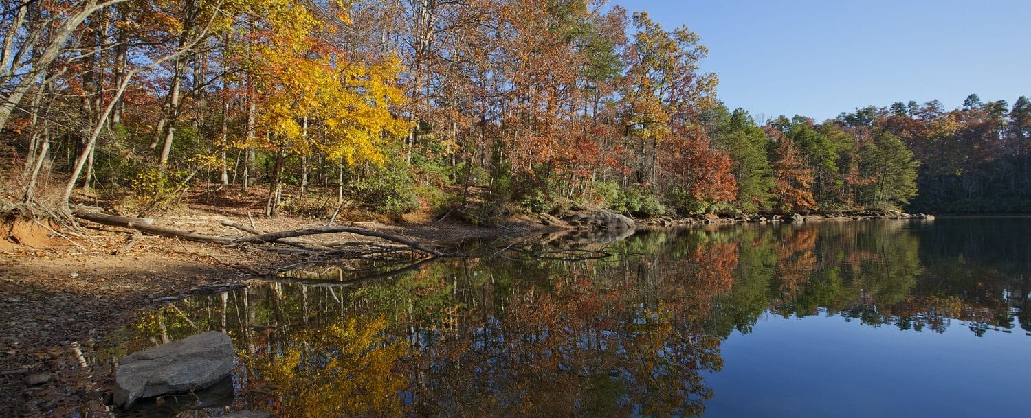 Lake Norman in autumn, showing the fall foliage in North Carolina