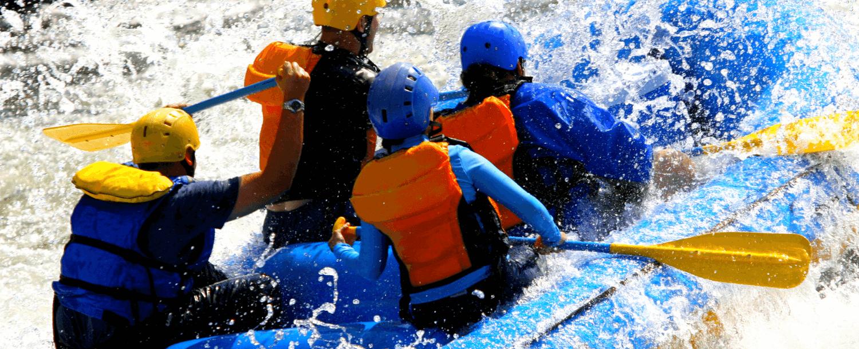 4 people whitewater rafting