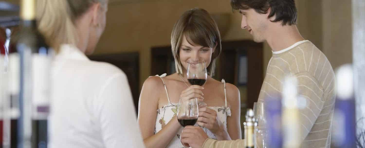 Couple tasting wine at one of the Yadkin Valley wineries